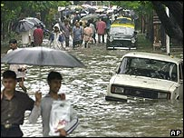 A flooded street in Mumbai