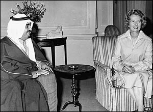 King Fahd with former UK Prime Minister Margaret Thatcher