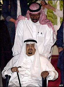 King Fahd is wheeled from his yacht in 2002.