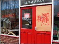 A closed cafe near to the Longbridge plant