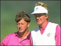 Ian Woosnam and Paul Broadhurst at the 1991 Ryder Cup
