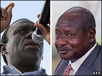 Kizza Besigye (L) and Yoweri Museveni