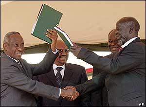 Ali Osman Taha (l) with John Garang (r)