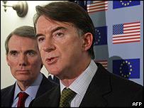 EU trade representative Peter Mandelson (right), with his US counterpart Rob Portman