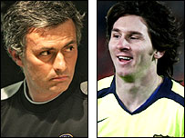 Jose Mourinho (left) and Lionel Messi
