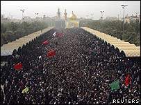 Crowds of Shias in the holy city of Karbala