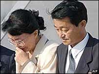 Fukie Hamamoto (left) and Yasushi Chimura - returning to Japan in 2002