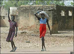 Girls carrying water in southern Sudan