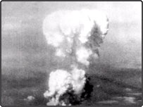 The atomic bomb is exploded over Hiroshima on August 6, 1945