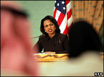 Condoleezza Rice answers a question during the joint press conference with Saudi FM Prince Saud al-Faisal