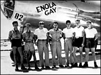 Enola Gay ground crew with pilot (centre)