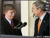 President George W. Bush (R) with John Bolton