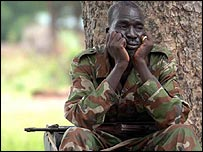 A southern Sudanese soldier mourns the death of John Garang