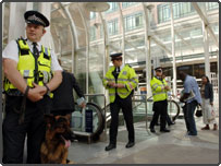 British Transport Police stand guard at Liverpool Street station