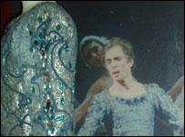 Rudolf Nureyev photographed with his blue tunic worn in Swan Lake