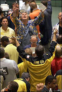 Oil traders on Nymex on 1 August
