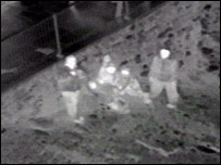 RAF footage of the rescue operation taken from a helicopter