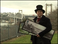 Royal Mail's Adrian Booth dressed as Brunel at the Royal Albert Bridge