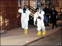 Investigators outside Vado Diomande's apartment in New York