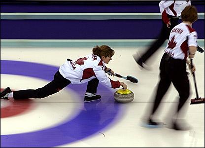Canada's Christine Keshen releases a stone