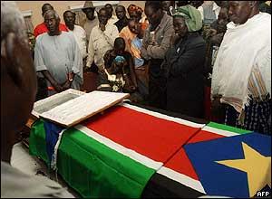 John Garang's coffin