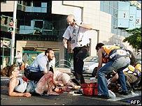 Scene of Netanya bombing, 12 July 2005