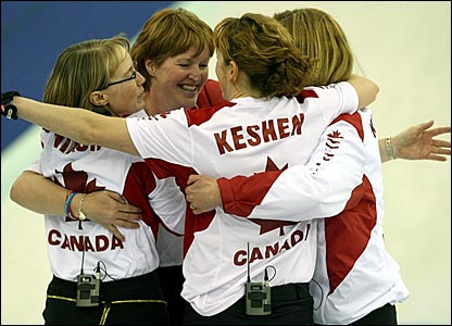 Canada celebrate winning the bronze medal in the curling