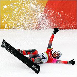 Switzerland's Daniela Meuli celebrates her victory