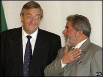"Presidentes de Argentina y Brasil, Néstor Kirchner y ""Lula"" da Silva"
