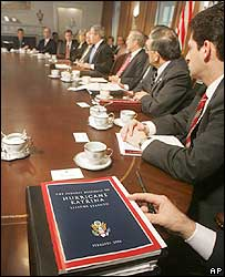 President George W Bush (c) with his cabinet