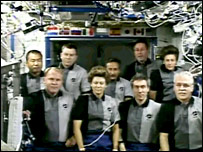 Discovery and ISS crews (Nasa)