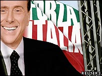 Electoral banner of Italian Prime Minister Silvio Berlusconi