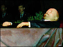 Lenin's body in the mausoleum