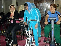 Women exercising in a gym in Herat, Western Afghanistan