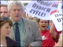 Protesters following Rhodri Morgan