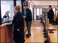 Customers inside bank