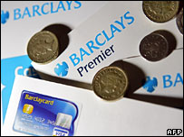 Barclays bank leaflets and coins