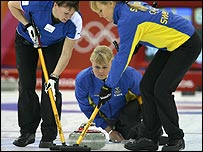 Sweden's women curlers in action