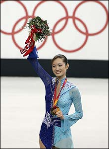 Japan's Shizuka Arakawa wins the ladies figure skating gold