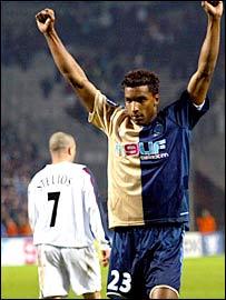 Marseille defender Habib celebrates Marseille's winner