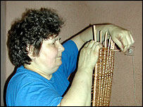 Stanislawa Baran weaving wicker