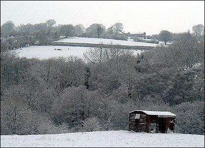 Snowy scene at Llangattock near Crickhowell on 24th February
