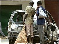 A burned out car in Khartoum
