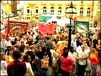 Vigil at St George's Hall in Liverpool