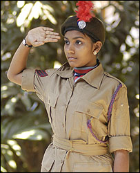 Rubiya in NCC cadet uniform
