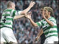 Stephen McManus (left) scored Celtic's third goal