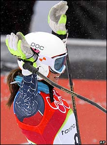 American Julia Mancuso celebrates after the first run of women's giant slalom in Sestriere