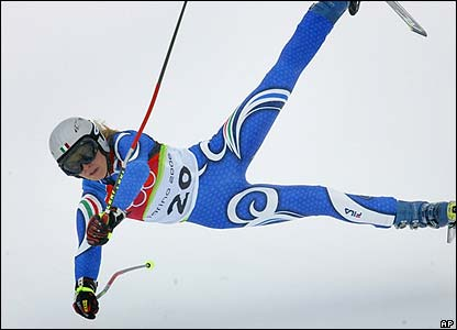 Italian Manuela Moelgg falls in the giant slalom