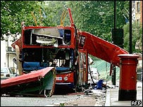 Bombed bus in Tavistock Square