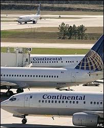 Continental Airlines planes at Houston